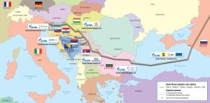 Mapa de South Stream por Gazprom